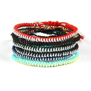 Moda Summer Sandbeach Jewelry Wholesale 10pcs / lot Mix 2 colores String Tibetan Buddhist Braided Nudos Lucky Rope Pulsera para regalo