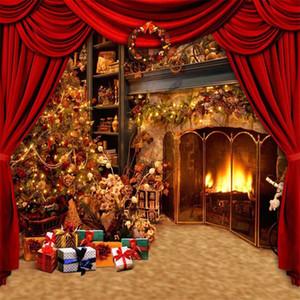 Innenkamin-Weihnachtsbaum-Fotografie-Hintergrund druckte rote Vorhang-Geschenkbox-neues Jahr-Partei-Themed Photo Booth Background
