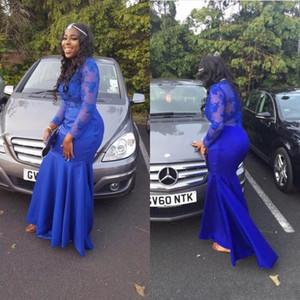 Mousseline De Soie Dentelle Manches Longues Robes De Soirée De Col Haut Sirène Robe De Soirée Bleu Royal robe de fiesta largos de noche elegante