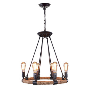 Loft Rope Rustic Chandeliers 6-luce Vintage Pendant Lighting Lampadario Ferro Adison Catena Droplights Per soggiorno luci interne