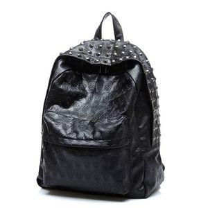 Nova Moda Mulheres PU kpack school bolsas Crânio viagem Punk Rivet mochila para Adolescentes Mochila feminina B15271Leather bac