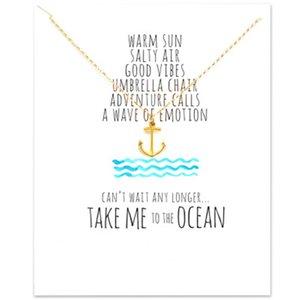 Gargantilha colares de prata de ouro com cartão de pingente de cartão para moda mulheres jóias âncora pirata oceano série