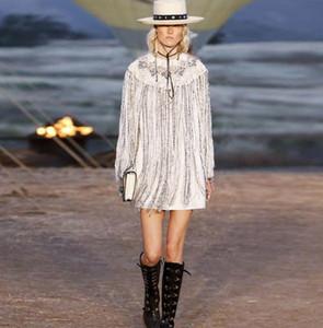 2020 Weiß O Ansatz Long Sleeves Mini-Frauen-Kleid Herrliche Perlen Pailletten Quasten Vestidos De Festa 092301
