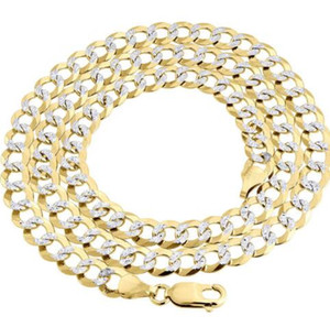 Réelle en or jaune 10K Fill solide Diamond Cut Cuban Chain Link 7.25mm Collier 24""