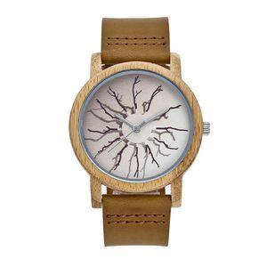 Bande de montre en acier inoxydable en acier inoxydable en bambou naturel Bamboo