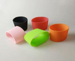 100pcs / lot Silikonhülsen für Becher Parteischalenärmelband Recycelbare Wärmedämmungsschale Flaschenabdeckung