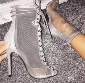 2018 Nova malha Limpar botas de combate Peep Toe Mulheres Voltar Zipper Lace Up Ankle boot Sexy Fino Salto Alto Botas Sandálias da mulher do verão