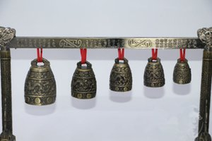 Meditation Gong con 5 Ornate Bell con Dragon Design Chinese Musical Instrument