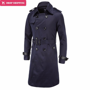 Trench Coat Men X-long British Slim Fit Pea Coats Double Breasted Mens Overcoat Trenchs  Clothing Male Coat