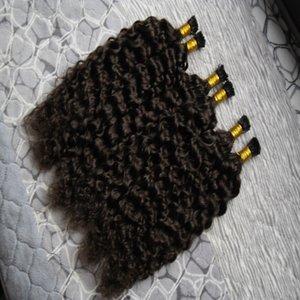 Prebonded 퓨전 헤어 익스텐션 Kinky Curly 300g / strand 케라틴 스틱 I 팁 브라질 Prebonded Human Hair Extensions # 2 Darkest Brown