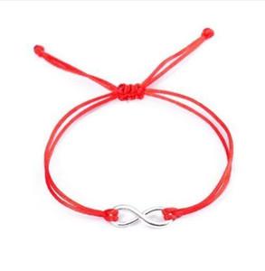 10 pz / lotto 8 Infinity simbolo Braid Bracciali Intrecciati Corda Braccialetto Rosso Gioielli fortunati