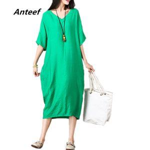 Anteef cotton linen vintage solid clothes plus size v-neck women casual loose long summer dress vestidos femininos 2018 dresses