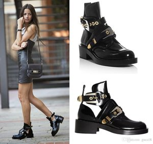 2017 Black Women Shoes Genuine Leather Ankle Motorcycle Boots Riding Gladiator Bootie Flats Cutout Square Heel Buckle Boot