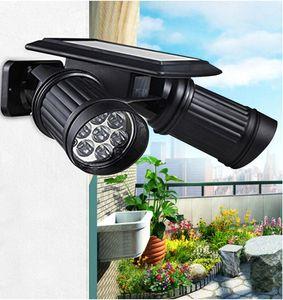 Lumières solaire Mouvement capteur extérieur Double Spotlights 14 LED solaire double tête rotatif à 180 degrés de sécurité Lumière pour Patio Terrasse couverte Jardin
