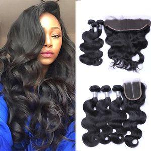 Brésil Virgin Hair 3 Bundles avec Dentelle Frontal Fermeture droite du corps humain Cheveux vague Péruvien Bundles cheveux avec fermeture