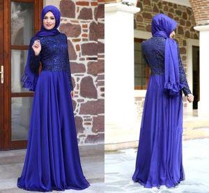 Chiffon Collo alto Piano Lunghezza Royal Blue Maniche lunghe Abito da sera modesto modeste musulmanes robes de soir e manches