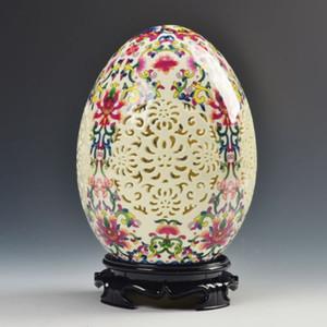 Archaize china colmillo de porcelana de alta calidad en forma de huevo adorno calado talla arte