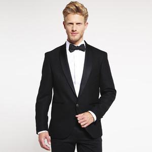 Black Men Suits Slim Fit Prom Evening Wear Wedding Suits Groom Tuxedos with Satin Shawl Lapel 2 Pieces (Jacket+Pants) Bridegroom Blazer
