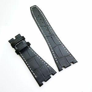 26mm / 18mm Noir de haute qualité en cuir de veau blanc Stitch Band Strap pour AudemarsPiguet Royal Oak