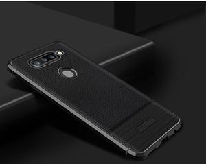 For LG V30 V30S G7 Plus V35 ThinQ Leather Skin TPU Shockproof Brush Back Cover Phone Case Pouch Anti Sweat Fall Fingerprint