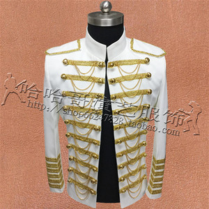 Fashion Royal Costumes For Men Suit Giacche Mostra Stage Performance Wear Nightclub Bar Blazer Coat Miglior cantante Tassel Clothing
