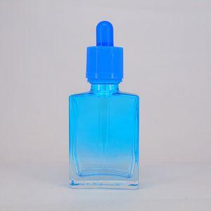 15ml 30ml Vuoto verde blu Ambra nero Bottiglie di vetro quadrati Contagocce contagocce Profumo aromaterapia 1 oz Contagocce di vetro trasparente Fiale