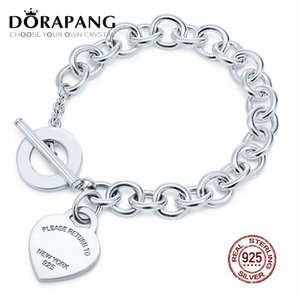 DORAPANG 2019 NEW 100% 925 Sterling Silver Charm Heart Shaped Chain Bracelet Snake Fashion Women Jewelry Gift