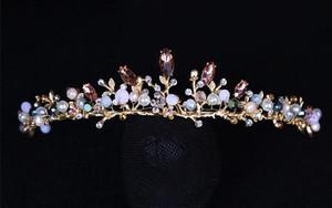 Europäische barocke Retro Braut Krone Kopfschmuck Gold Perle Kristall Krone Kopfschmuck Hochzeit Foto Studio Zubehör