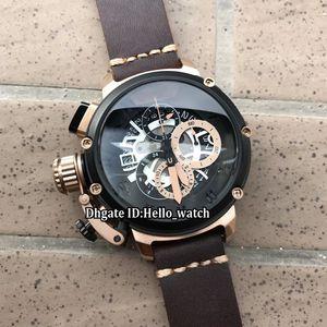 Zurdo 50mm U-51 U51 Chimera Bronce 7474 Esqueleto Negro Dial Cuarzo Cronógrafo Reloj para hombre Cronómetro Reloj con correa de cuero en bisel negro