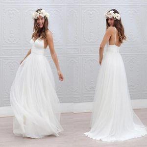 Bohemian Beach Summer Wedding Dresses 2017 Sexy Backless Spaghetti Straps Wedding Bridal Gowns Bohemian Floor Length Beach Summer Boho