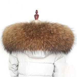 Winter warm fur collar scarf real raccoon 100% natural fur scarf fashion shawl warm coat coat accessories L10