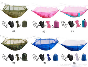 Viagem quente Duplo Hammock Cadeira com Mosquiteiro Luz Nylon Balanço Do Jardim Pendurado Camp Air Tenda Móveis Ao Ar Livre Cama