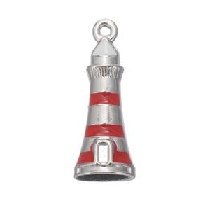 En Kaliteli Rodyum Kaplama Kırmızı Denizcilik Beacon Charms Alaşım Emaye Deniz Feneri Kolye Charms 50 adet AAC846