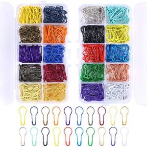 600 piezas de 20 colores surtidos bulbo contactos de seguridad en forma de pera pernos Calabash Pin de tejer la puntada de costura Hacer Marcadores con caja de almacenamiento