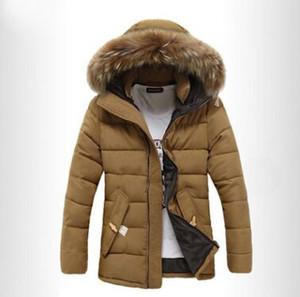 الأزياء ستر الرجال ماركة الملابس الشتوية سترة الرجال الحرارية مقنعين رشاقته معطف عارضة الفراء هود دافئ أسفل جاكيتات أبلى q4