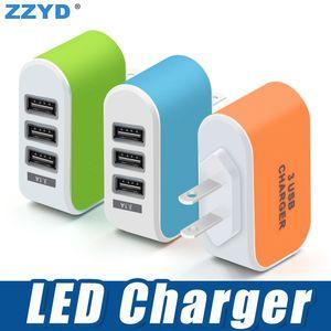 ZZYD 3 USB Cargador de pared LED Adaptador de viaje 5V 3.1A Cargadores de puertos triples Inicio EE. UU. Enchufe de la UE para Samsung S8 Note 8 iPX