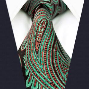 """D24 красный бирюзовый Пейсли мужской галстук Шелковый жаккардовый тканый свадебный удлиненный размер 63 """" классические модные галстуки для мужского платка"""