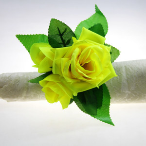 free shipping silk flower napkin ring flower napkin holder 12 pcs qn18040301