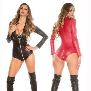 ENGAYI Marca Mujeres Látex de Moda de Látex de Cuero de Imitación Disfraces sexy Ropa Interior Sexy lencería erótica Bobydoll x6714 Y18110504