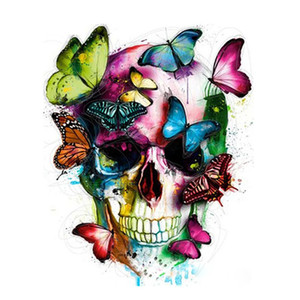 Anti Stress Paint by Numbers Skull with Butterfly Unframed Painting for Adults Beginner Diy Pianting Kits with Acrylic Paints Brushes