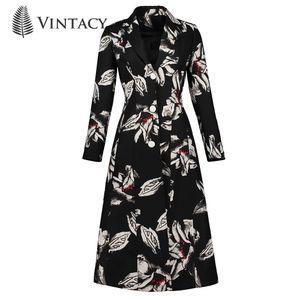 Vintacy Winter Coat Women 2018 Black Print Floral Single Breasted Abrigo femenino New Fashion Spring Mujeres manga larga