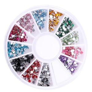 Vente chaude 600pcs 2mm Acrylique Multicolore Nail Art Décoration Strass Glitter 3D Nail Art Décoration + Roue