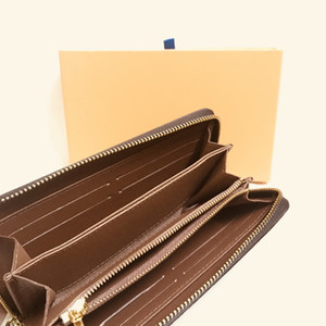 M42616 Diseñador de lujo Zippy Long Wallet Cremallera de mujer Brown Wallet Mono gramo de cuero de Canvers Check Plaid Wallet Envío gratis Good Qaulity