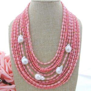 """N051100 Розовый Коралловый Белый Кеши Жемчужина 18 """" 11 Пряди Ожерелье"""