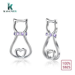 KASANIER 100% Sterling Silver Eardrop Fashion Cat Zircon Design Ladies Earrings for Women Party Gift K-ED0119