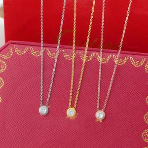 Collana di colore Singel CZ ciondolo di diamanti in oro rosa d'argento per le donne Collare Vintage Bigiotteria con cofanetto originale