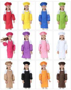 3 teile / satz Kind Schürze Kinder Hülse Hut Tasche Kindergarten Küche Backen Malerei Kochen Trinken essen 12 farben