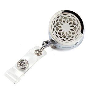 3 Arten Lotus Blume Ätherisches Öl Medaillon Metall Versenkbare Abzeichen Reel Key 30 MM ID Karte Clip Ring Lanyard Name Tag Kartenhalter Freies Pads