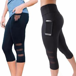 Buzağı uzunluğu Pantolon Capri Pantolon Spor tayt Kadınlar Spor Yoga Gym Yüksek Bel Legging Kız Siyah Mesh 3/4 Yoga Pantolon ...
