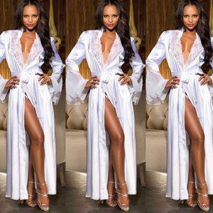 Hirigin 2018 النساء ملابس الحرير الحرير الدانتيل طويلة الأكمام الخامس الرقبة النوم منامة باس النوم ليلة حمام رداء M-2XL Amanda0928